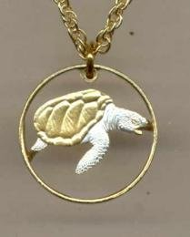 Beautifully Cut out & 2-toned Cape Verde Sea Turtle - coin Necklace