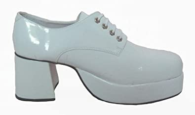 fever mens white patent 70s disco style platform shoes