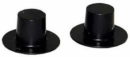 Darice 144-Piece Plastic Top Hat, 28 by 17mm, Black