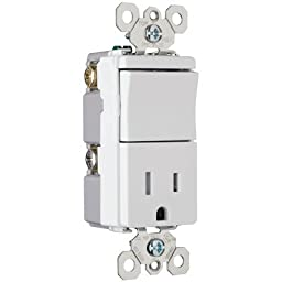 Legrand TradeMaster 3.81\'\' Decorator One Single Pole Switch and One Single Outlet in Light Almond