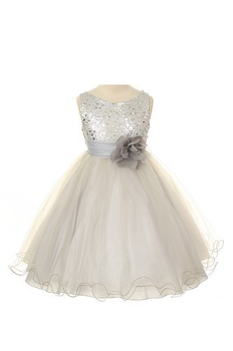 Sequin Bodice Tulle Special Occasion Holiday Flower Girl Dress - Silver 5-6 front-920477