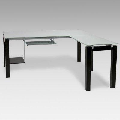 Buy Low Price Comfortable Ital Modern Baretta Glass L-Shaped Computer Desk with Keyboard Tray – EUS536 (B003TL3IPQ)