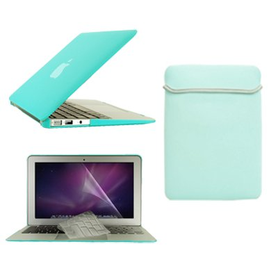 """Topcase Macbook Air 13"""" (A1369 And A1466) 4 In 1 Bundle - Rubberized Robin Egg Blue Hard Case Cover + Matching Color Soft Sleeve Bag + Transparent Tpu Keyboard Cover + Lcd Hd Clear Screen Protector With Topcase Mouse Pad"""