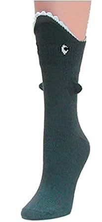 Shark Bite 3 Dimensional Trouser Socks by Foot Traffic One Size (Women's Shoe Sizes 4-10)