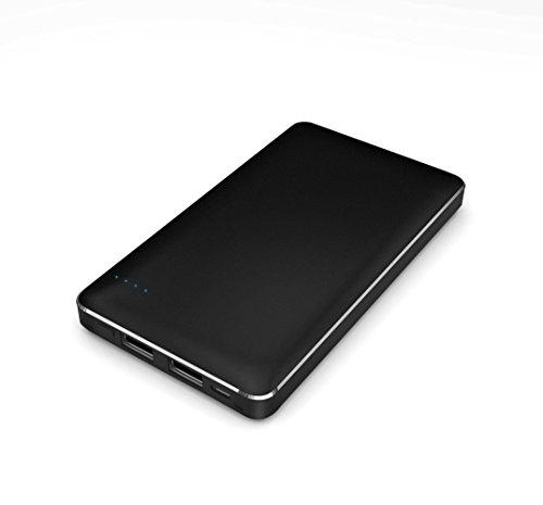 【Amazon.co.jp限定】SMILE WORLD 10,000mAh 大容量 薄型 軽量 コンパクト モバイルバッテリー 2USBポート同時充電可能 リチウムポリマー電池使用 iPhone/Android/Xperia/各種スマホ/タブレット 等 対応 メタルブラック SWA-1-BK