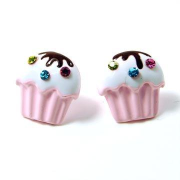 Pink Crystal Mini Cupcake Post Fashion Earrings