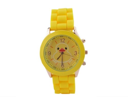 Funny Lovely Cartoon Rubber Duck Yellow Ducky Quartz Watch Yellow Silicone Band Watches Little Duck