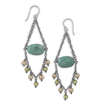Turquoise and Cultured Freshwater Pearl Earrings
