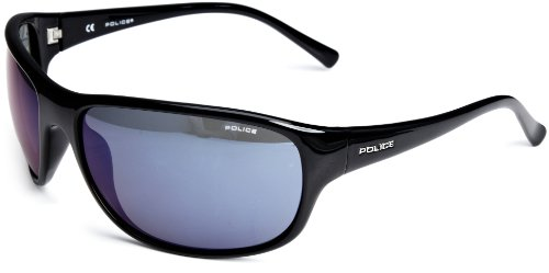 Police Plastic Wrap Men's Sunglasses Black/Blue Mirror One Size