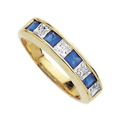 18K Gold Plated Blue & White Cubic Zirconia Half Eternity Wedding Band Ring - Size 5