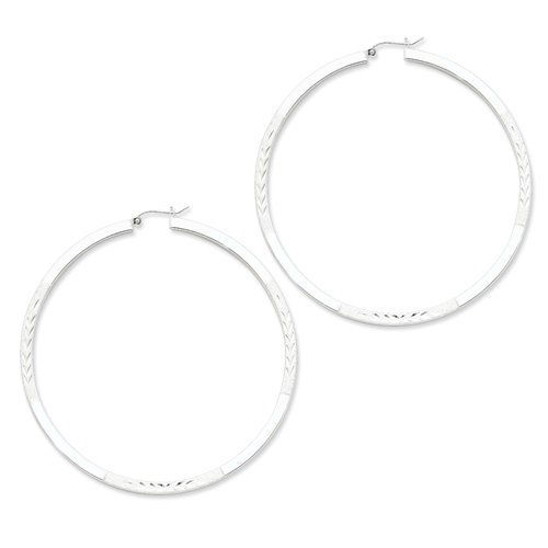 Sterling Silver Rhodium-plated Square Satin Finish 3.00mm D/C Tube Hoop Ear Real Goldia Designer Perfect Jewelry Gift for Christmas
