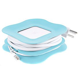 Quirky Powercurl - 85W Clip-On Cord Wrap For Apple And Magsafe Power Adapter Blue front-413877