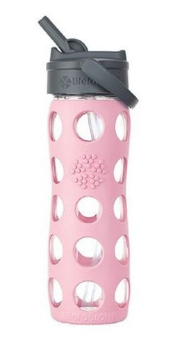 Lifefactory 224045 Glass Water Bottle With Straw Cap, 16 Oz, Peony