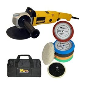 DeWalt DW849 Heavy Duty Variable Speed Polisher along with a TCPglobal Brand 6 Pad with Grip Backing Plate Kit