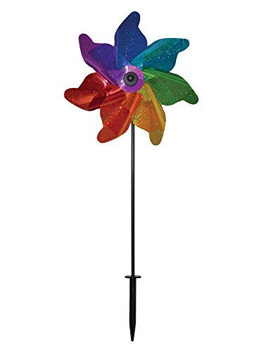 In the Breeze Rainbow Sparkle Pinwheel Spinner, 12-Inch