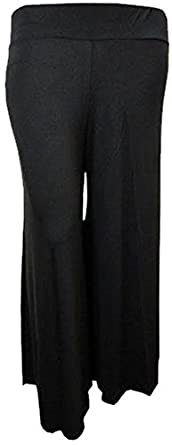 Womens Plus Size Flared Wide Leg Parallel Bottom Pants Palazzo Trousers (12/14, black)