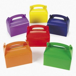 Lot of 12 Assorted Bright Color Cardboard Treat Boxes Party Favors