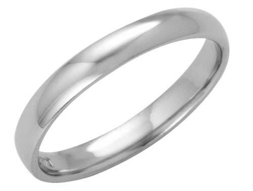 Platinum Wedding Ring, Light Court Shape, 3mm Band Width