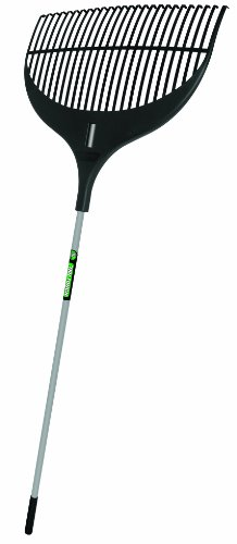 Truper 33655 Tru Tough Flexible Plastic Leaf Rake, 26-Inch Head, Steel Handle, 56-Inch