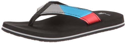 Sanuk Kids Block Party Boys Flip Flop ,Blue/Red,12-13 M US L