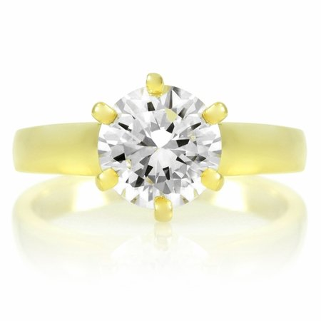 Melanie's Signity CZ Cubic Zirconia Engagement Ring - Round Cut Gold Plated 2ct