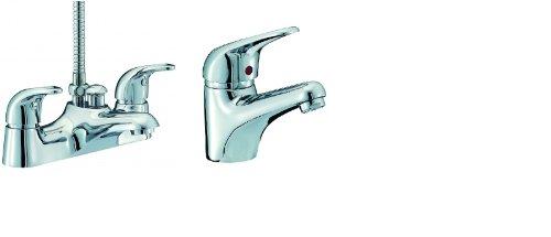 & Miscelatore per vasca da bagno e doccia con miscelatore monocomando per lavello della gamma di Orion, cromato