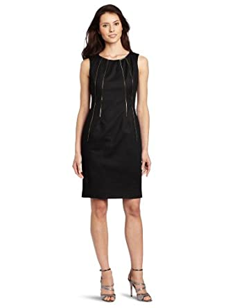 (新降)CK女时尚修身连衣裙 Calvin Klein Women's Shift Dress 蓝 $45.99,