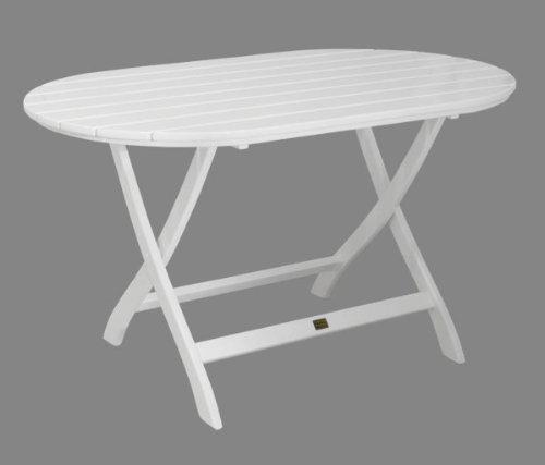 Gartentisch Mainau klappbar oval - Nostalgie aus Holz - weiß lackiert - Qualität aus Deutschland