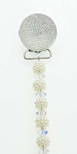 Bling Round White Pacifier Clip with Matching Beads (Cgw)