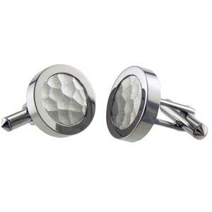Titanium and Sterling Silver Inlay Round Cuff Links