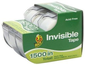 Duck Brand 1302209 Duck 3/4 Inch by 500 Inch Invisible Tape, 3-Pack