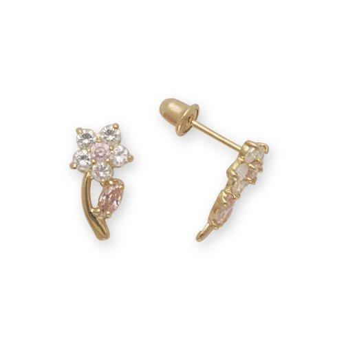 Baby Earrings CZ Flowers 14k Yellow Gold