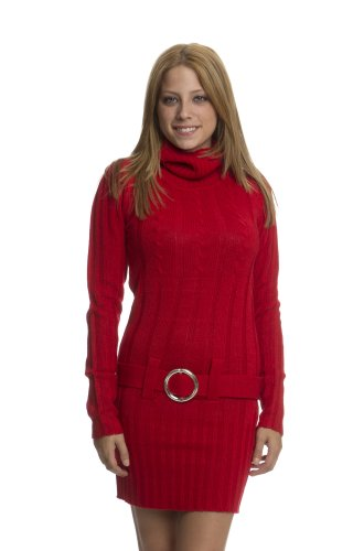 (13317R) Classic Designs Belted Cowl Neck Tunic Sweater Dress in Ruby Size: S