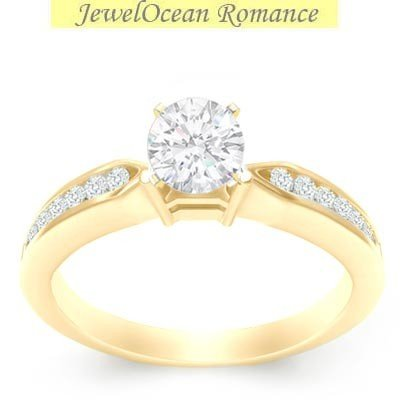 0.58 Carat Diamond Wedding Ring with Round cut Diamond on 18K Yellow gold
