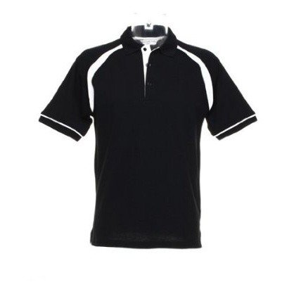 Kustom Kit Oak Hill Mens Short Sleeve Polo Shirt (S) (Black/White)