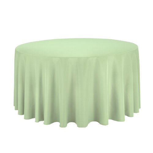 Linentablecloth Round Polyester Tablecloth, 120-Inch, Reseda front-520744