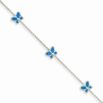 "Solid 14k White Gold Blue Enameled Butterfly Anklet 10"""