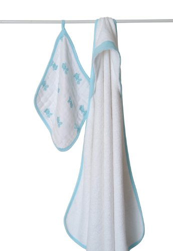 aden   anais Terry Hooded Towel and Muslin Washcloth Set, Hide and Sea Picture