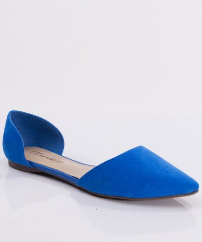 Breckelle'S Dolley-03 Designer Inspired Pointy Toe D'Orsay Flat,8.5 B(M) Us,Blue-23.Blue-23