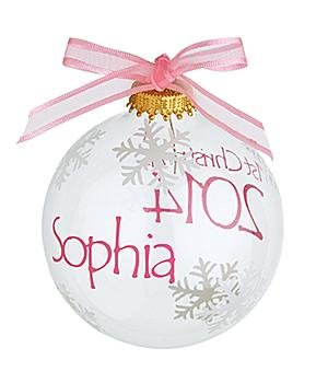 Personalized For Baby'S First Christmas Glass Ornament - Girl