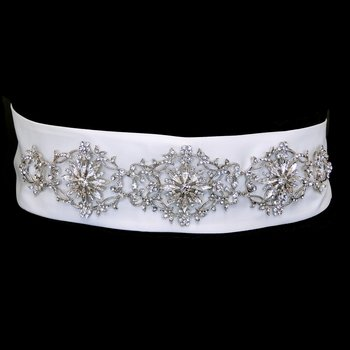 Floral Rhinestone Satin Wedding Bridal Sash Belt - Ivory