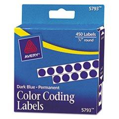 Permanent Self-Adhesive Color-Coding Labels, 1/4in dia, Dark