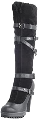Heart Soul Women's Kimbell Knee-High Boot,Black Suede,7 M US