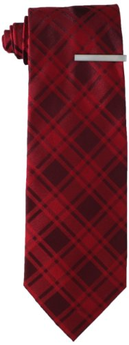 Little Black Tie Men's Checkered Necktie With Added Tie Bar, Red, One Size