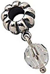 Zable Sterling Silver April Birth Month Crystal Dangle Bead