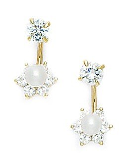 14ct Yellow Gold Center CZ Full Flower Telephone Earrings - Measures 14x7mm