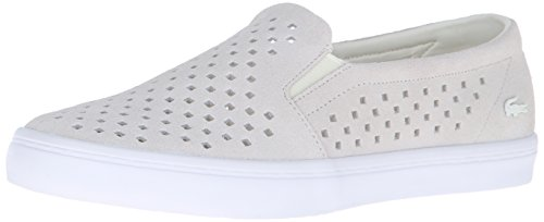 Lacoste Women's Gazon Slip on 216 1 Flat, Off White/White, 6 M US