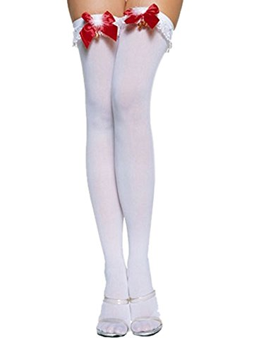 Lovely Ruffle Top Opaque Thigh Highs