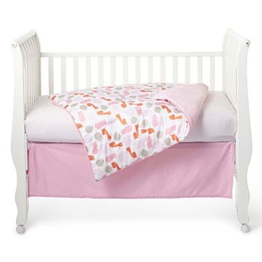 giggleBABY Pink Jungle Soup Collection 3 Piece Crib Bedding