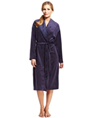 Shawl Collar Leaf Print Dressing Gown